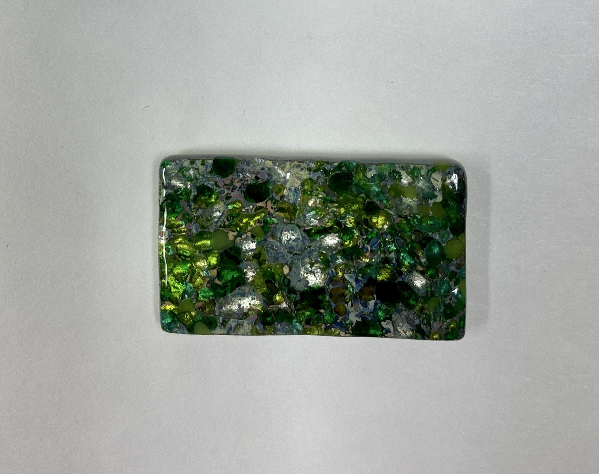 fused glass needleminder, green 48