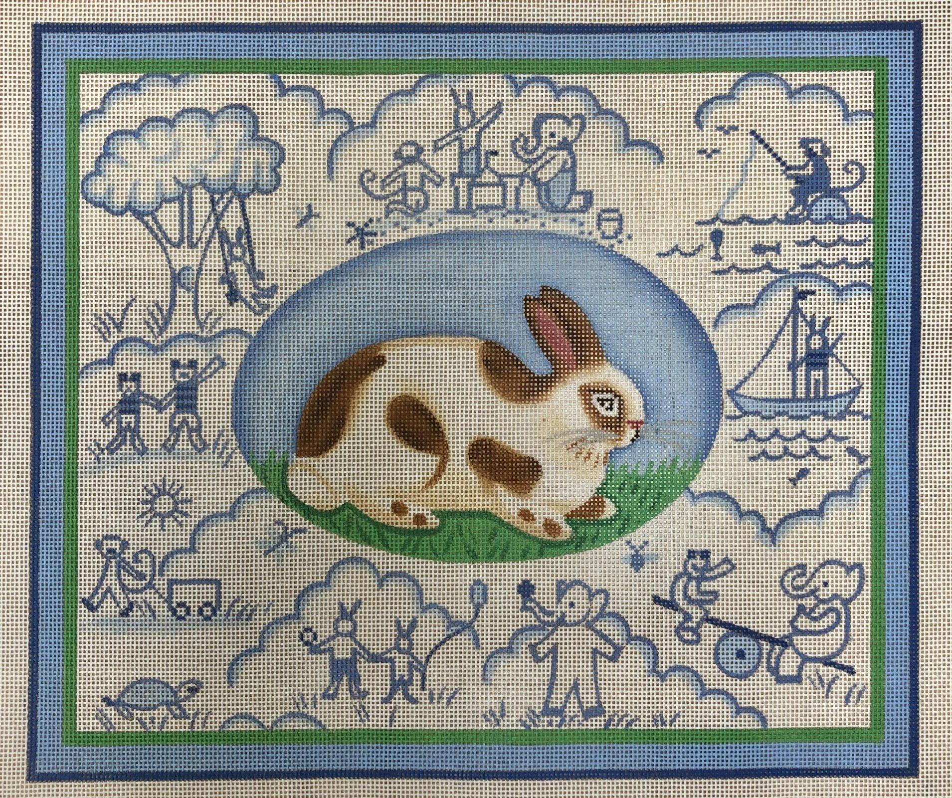 bunny toile, blue