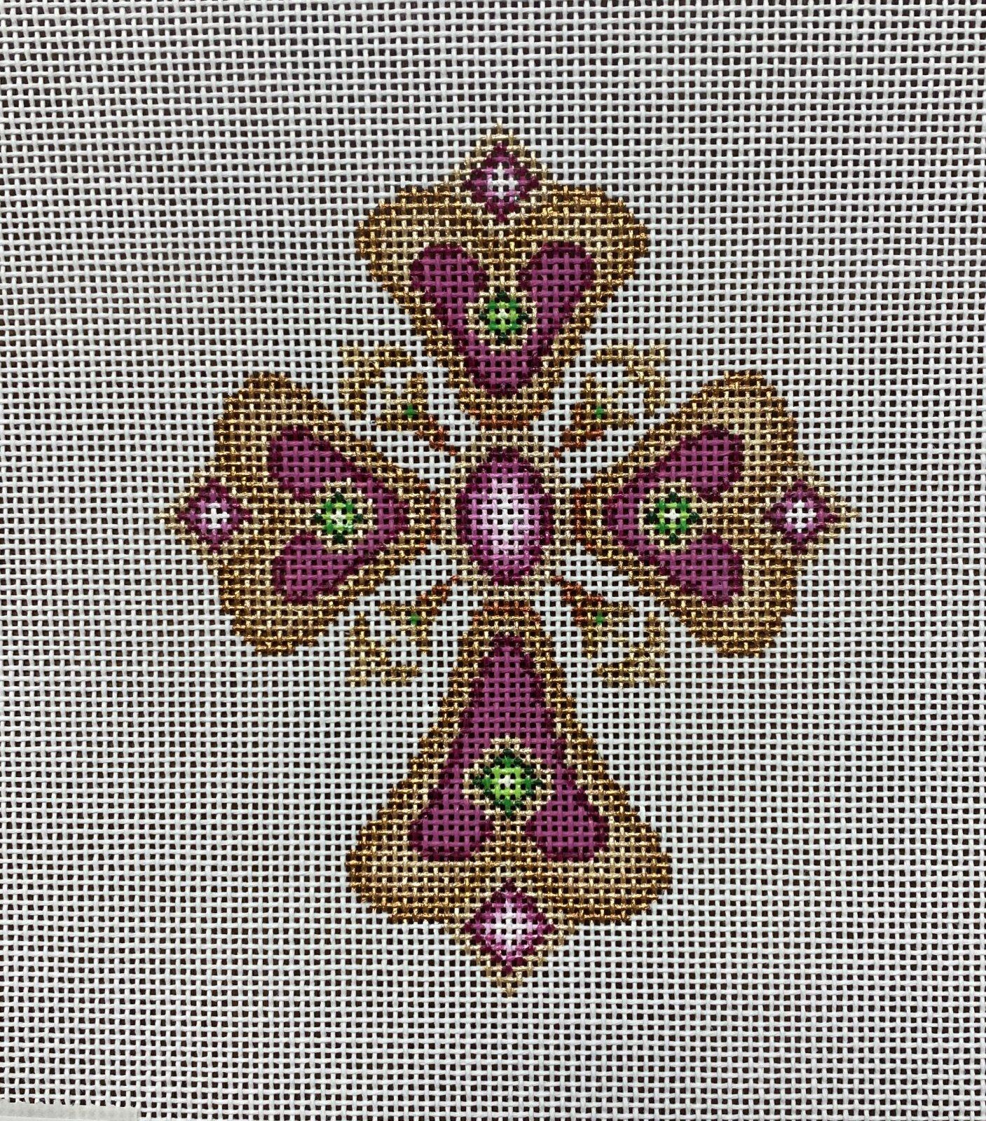 cross, gold & pink