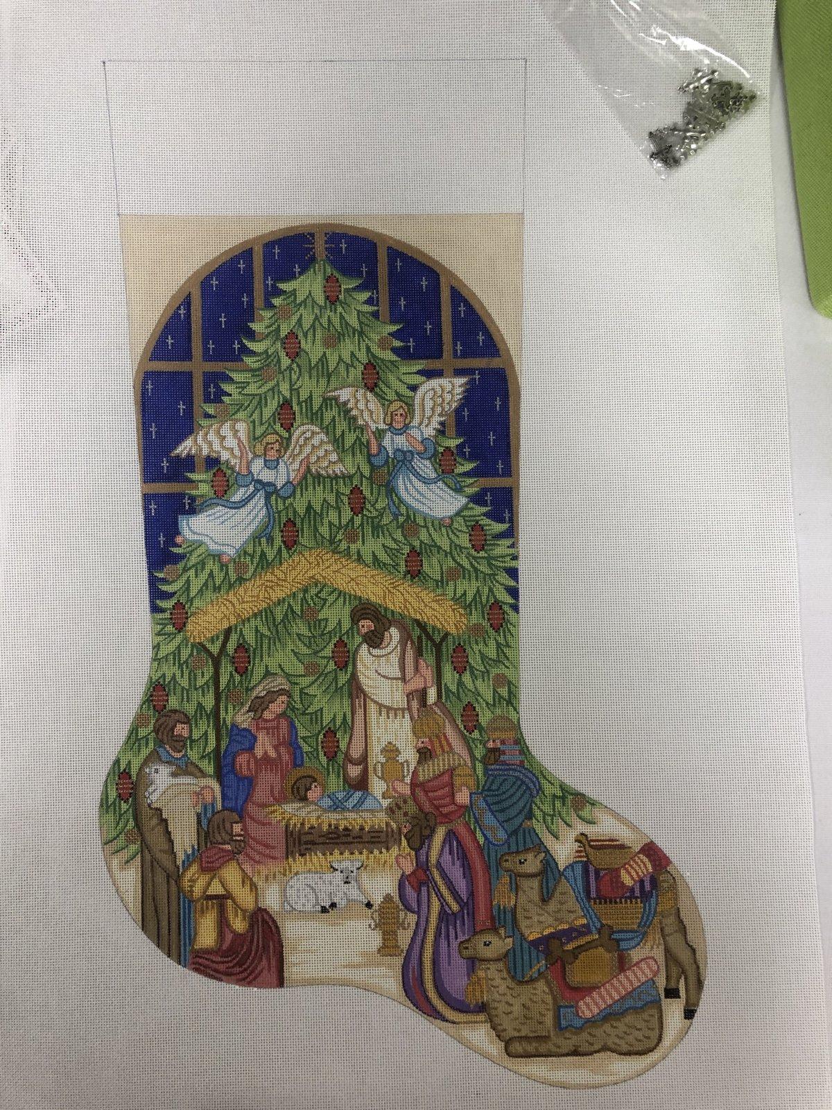nativity stocking w cross embellishements