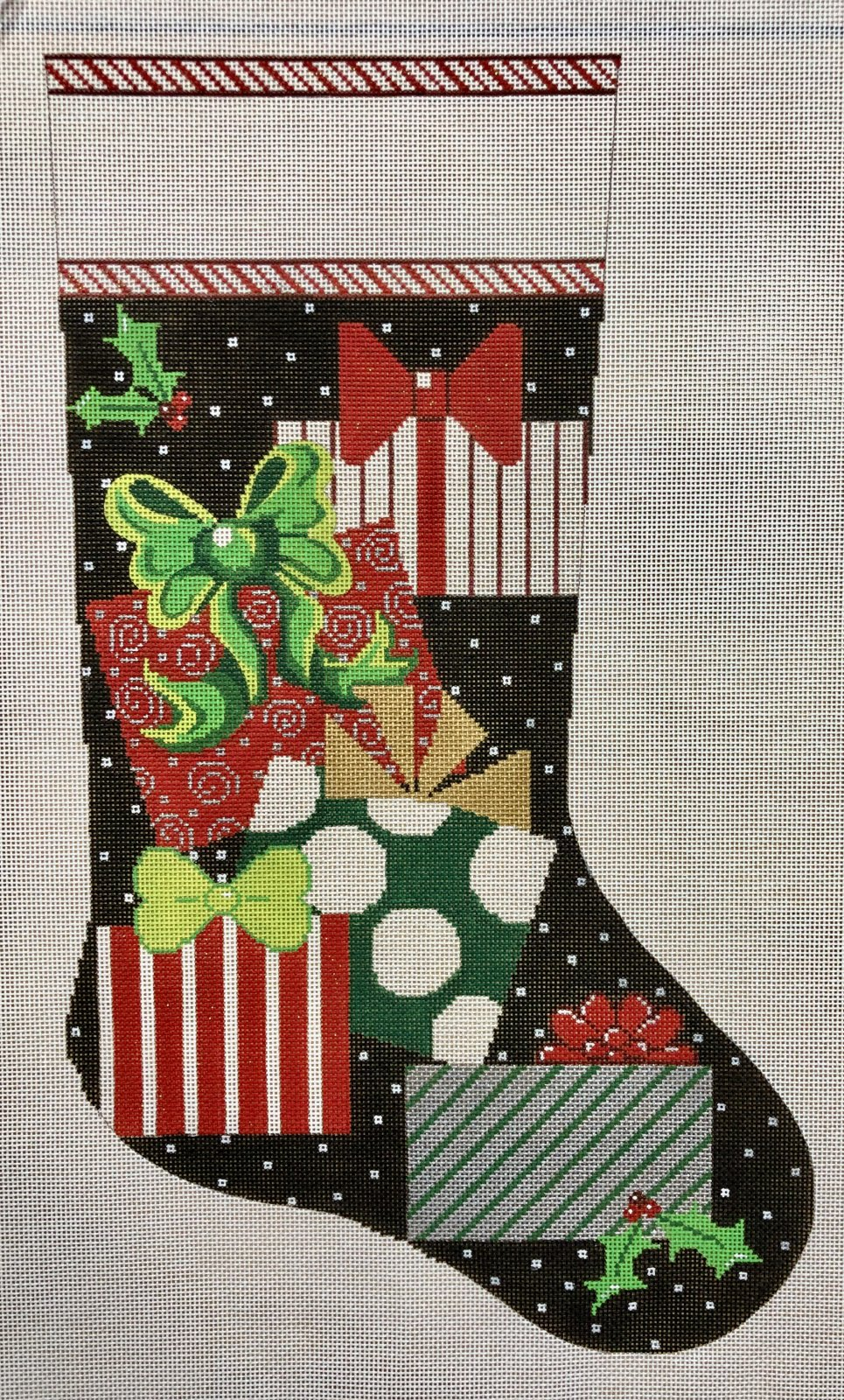 presents on black stocking