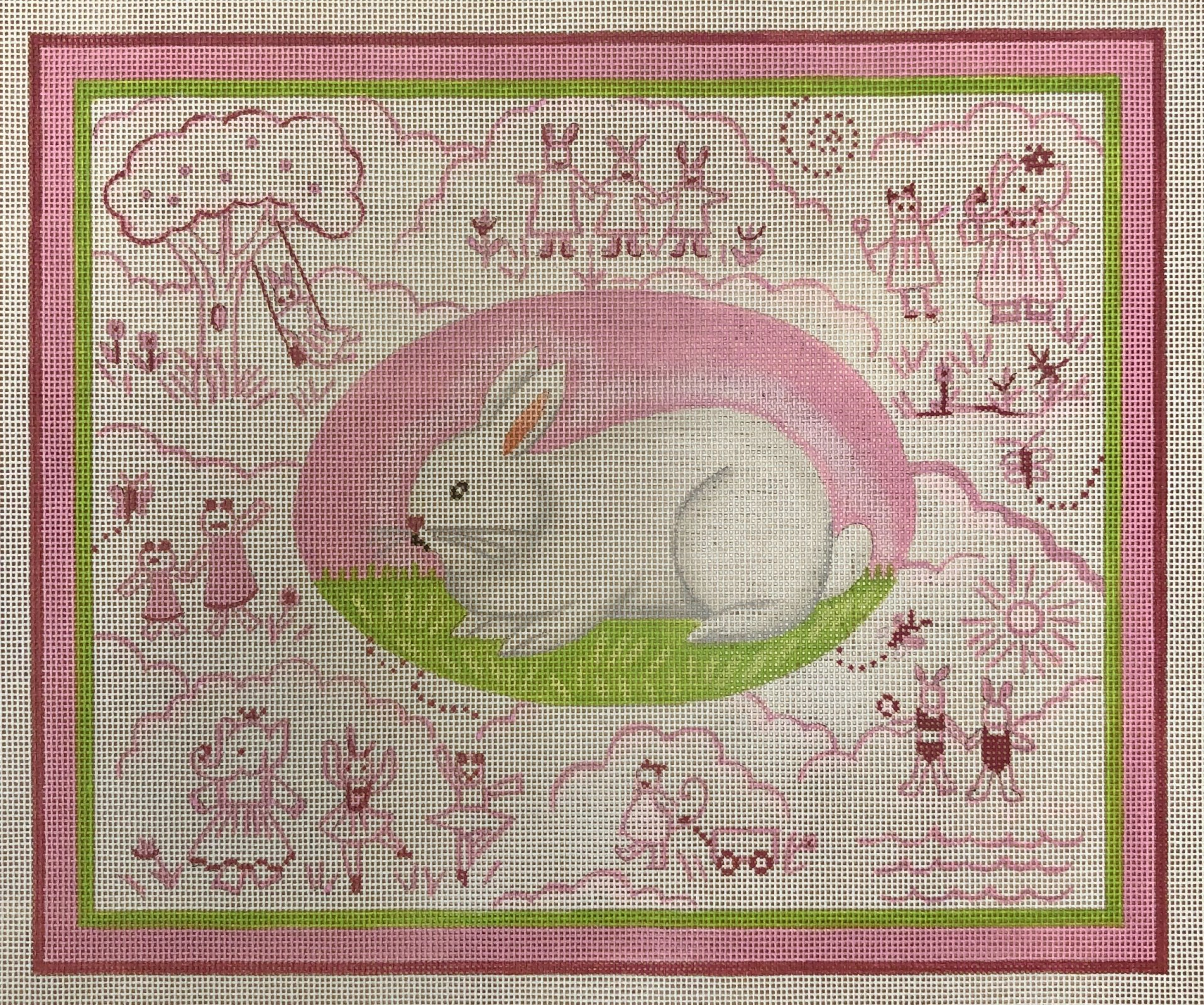 bunny toile, pink