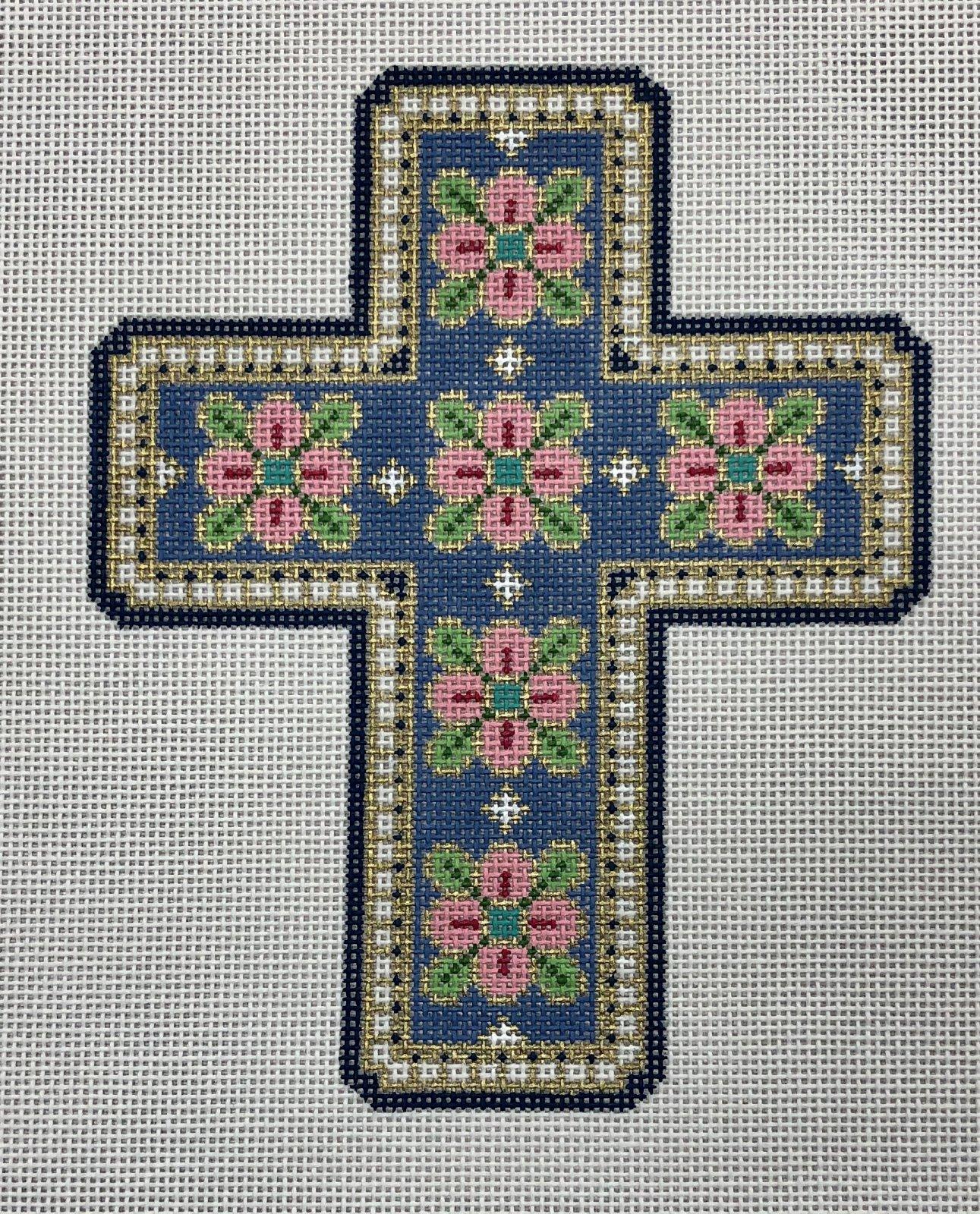 blue, pink, green cross