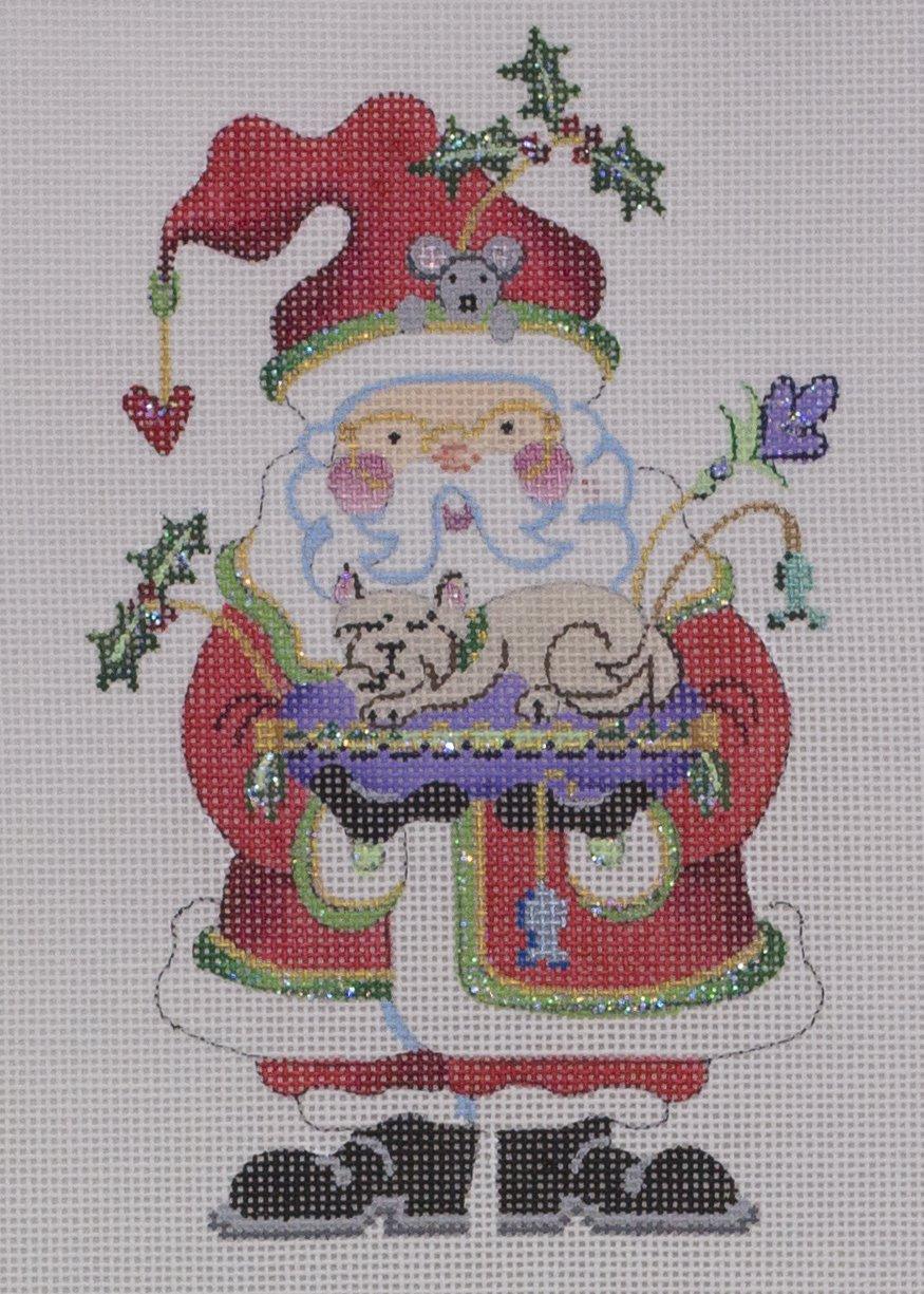 santa ornament w kitty & mouse