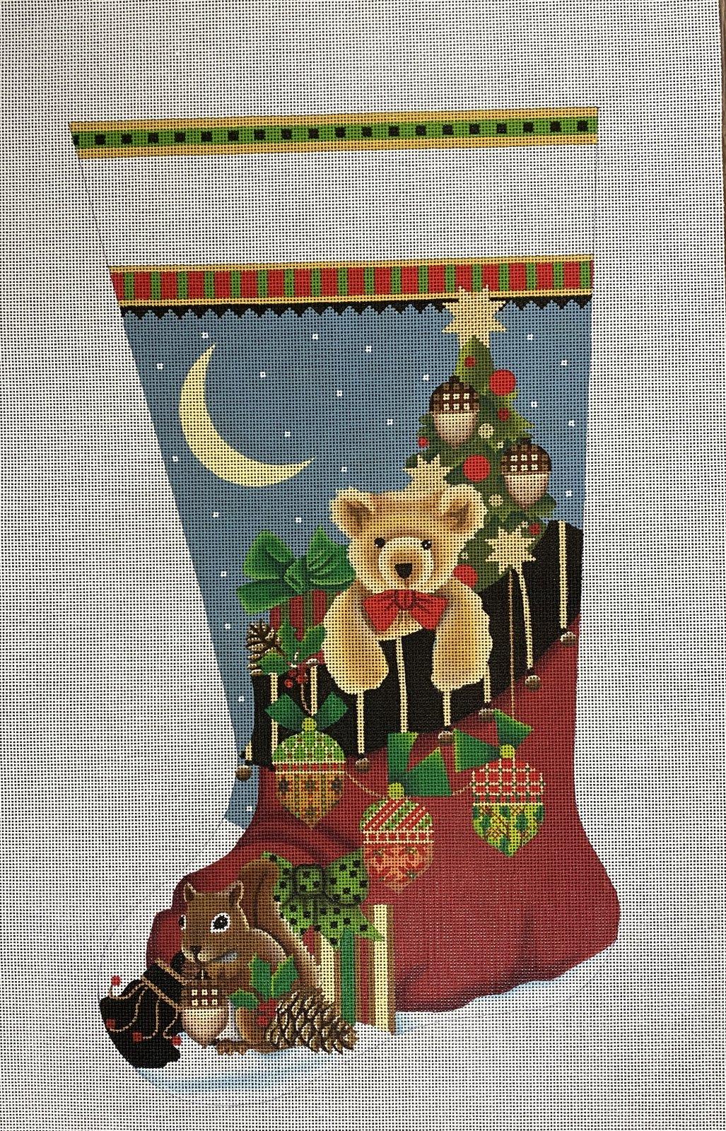 acorn santa bag sock