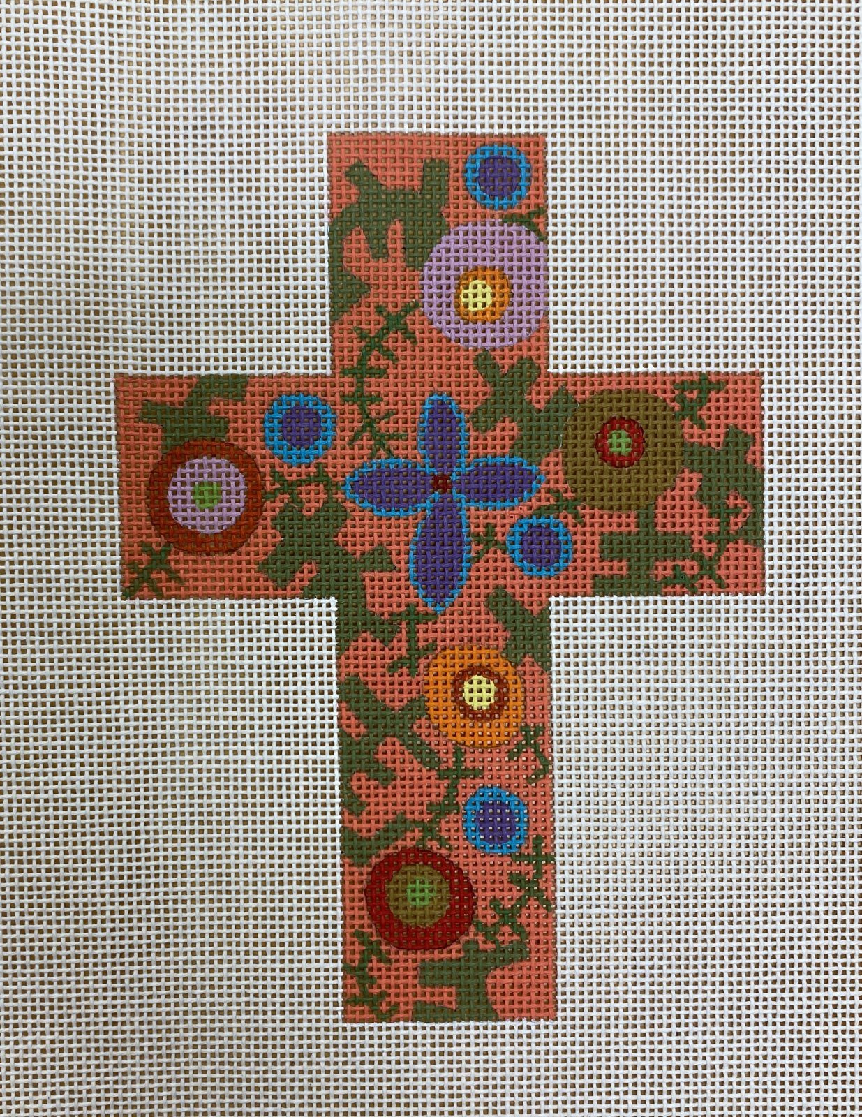 cross, coral and purple