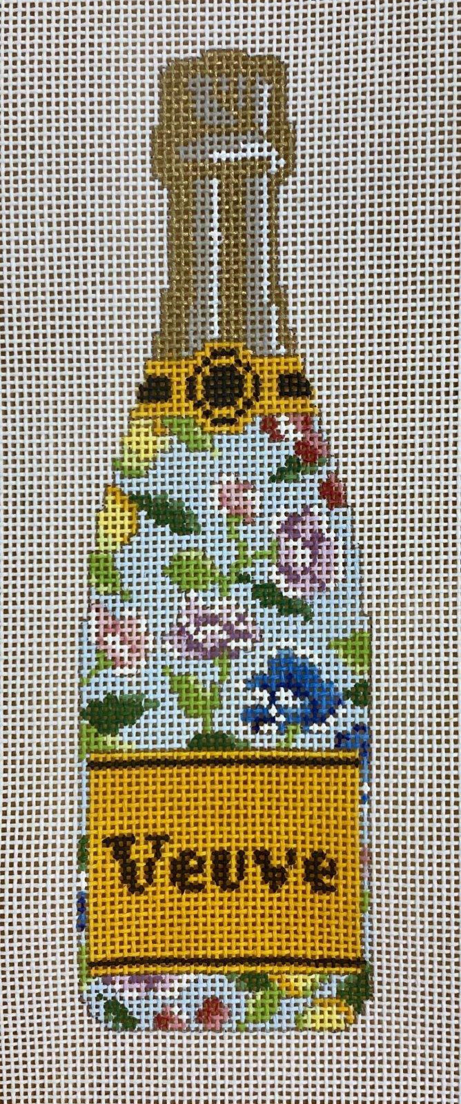 veuve bottle, blue floral