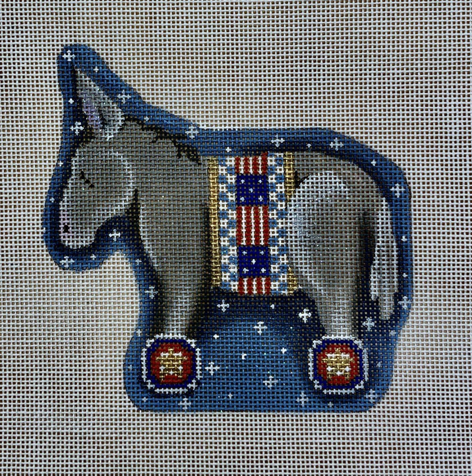 patriotic donkey wheels ornament