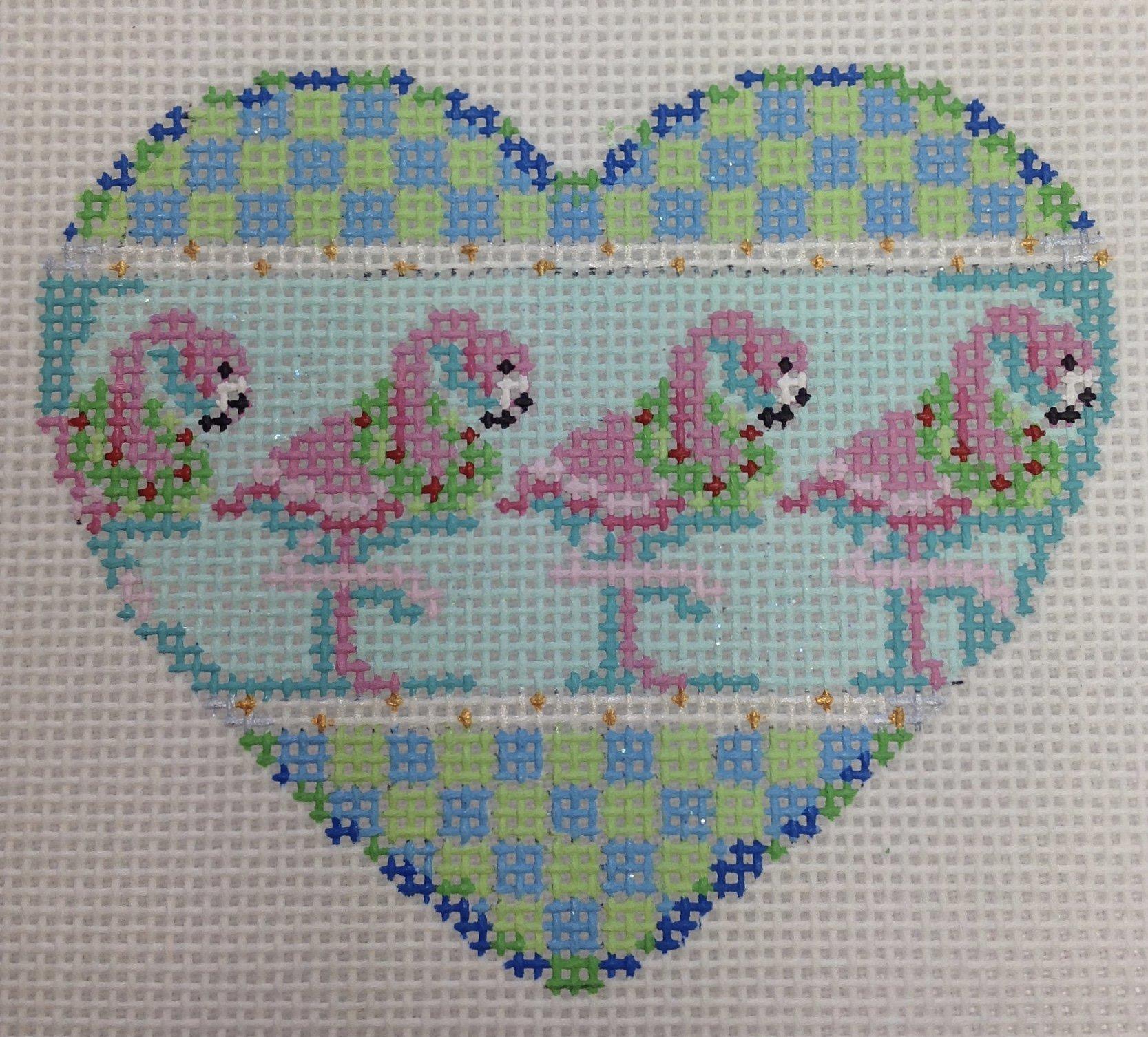 flamingo heart ornament