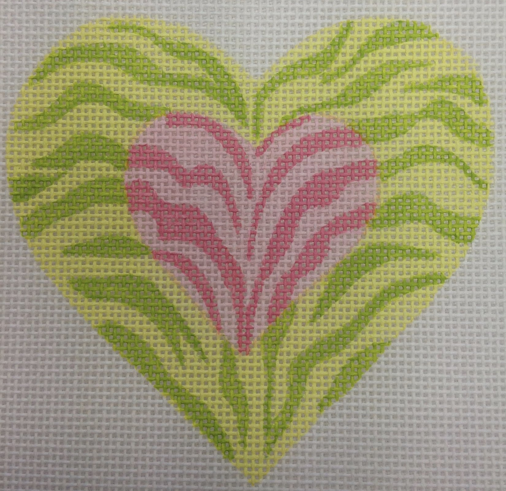 pink, yellow & green heart