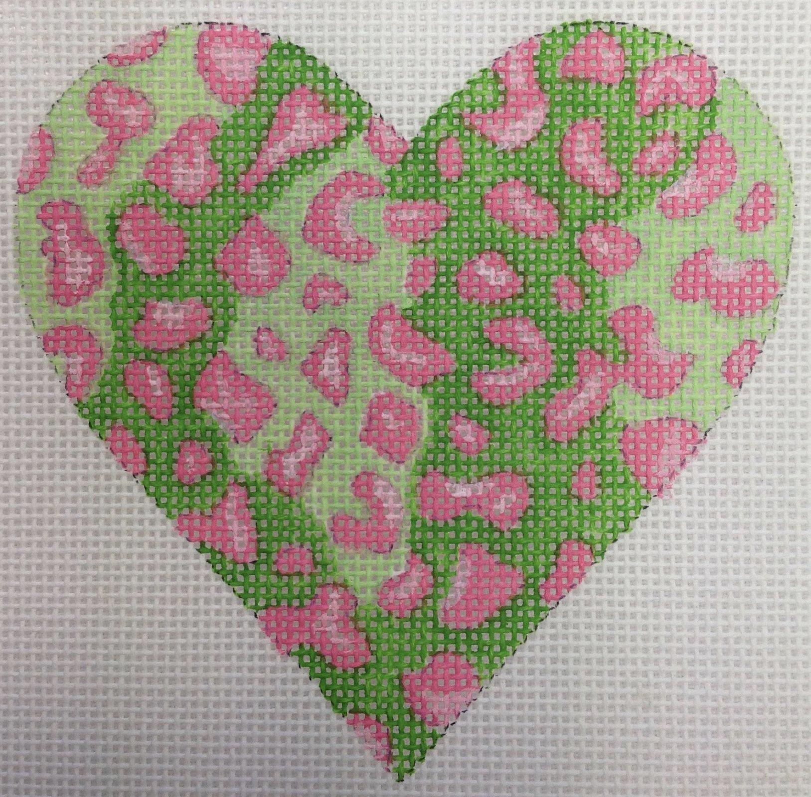 green & pink heart