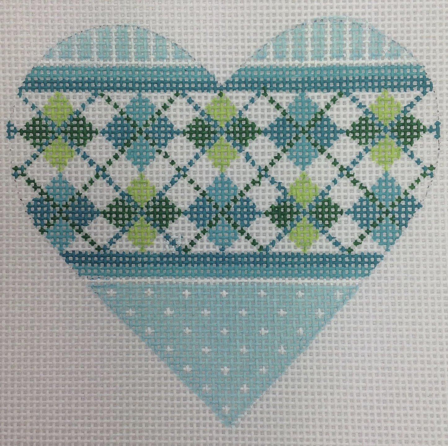 green plaid heart
