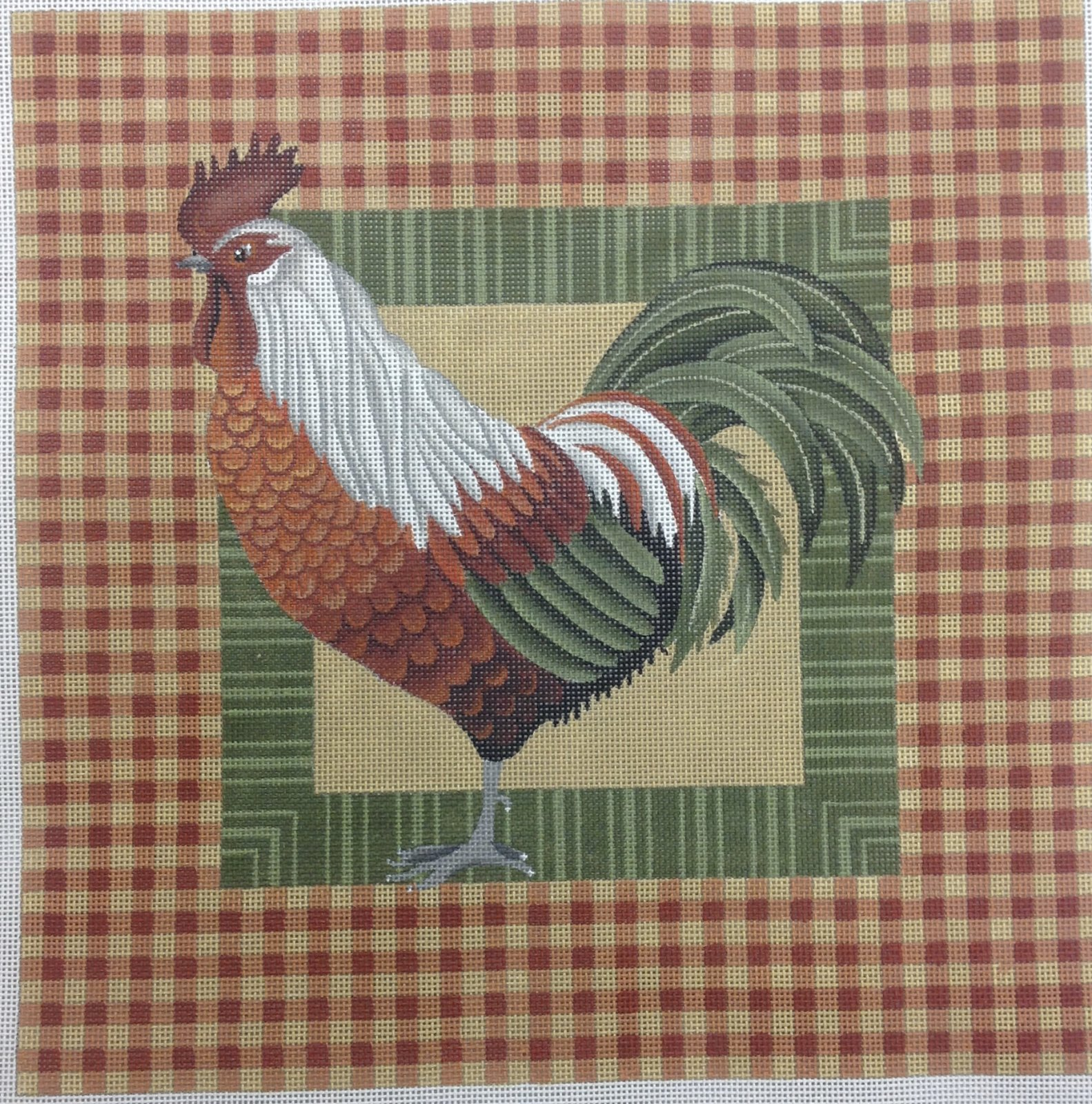 orange & green rooster on orange