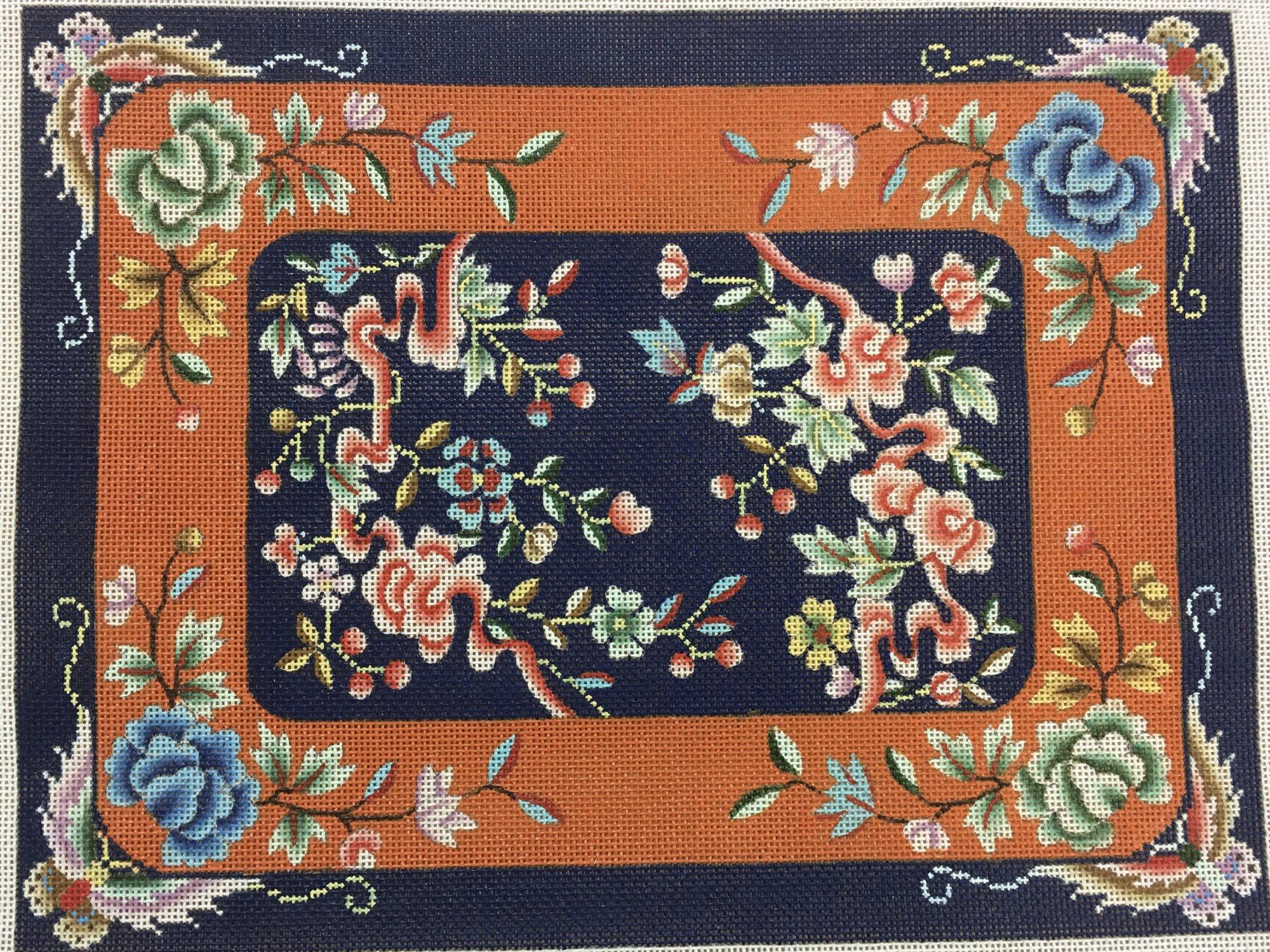 floral & ribbon rectangle