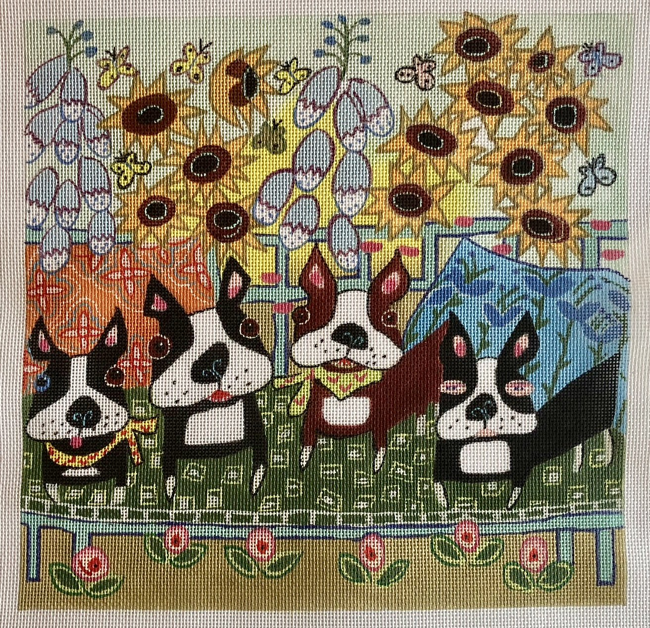 four dogs in the garden