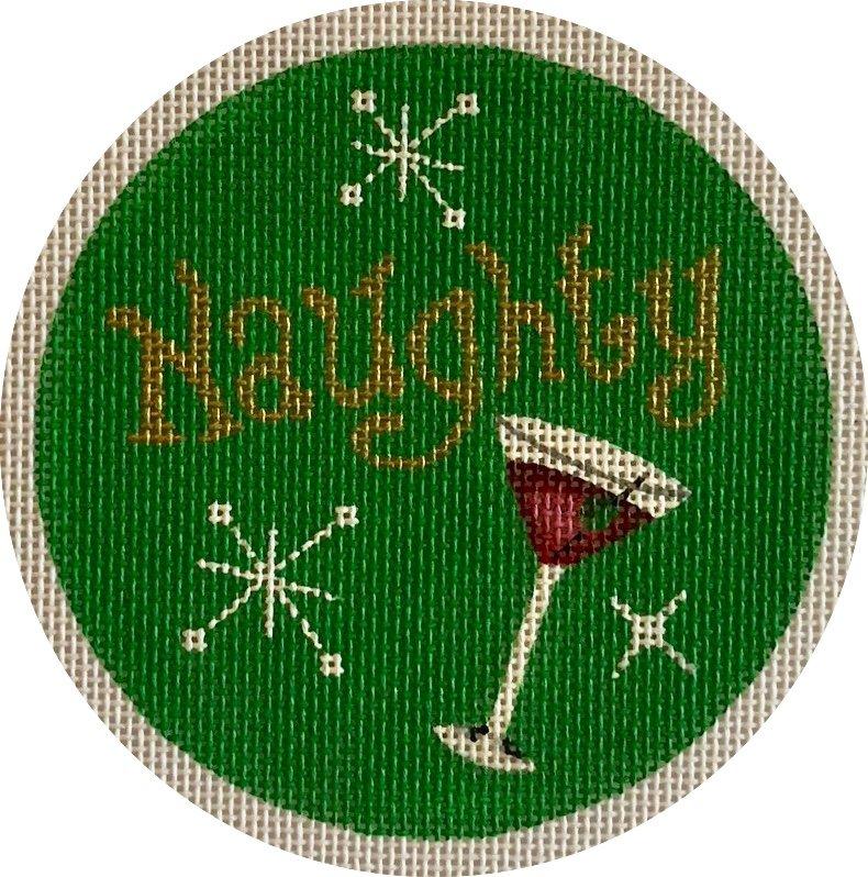 naughty, martini ornament
