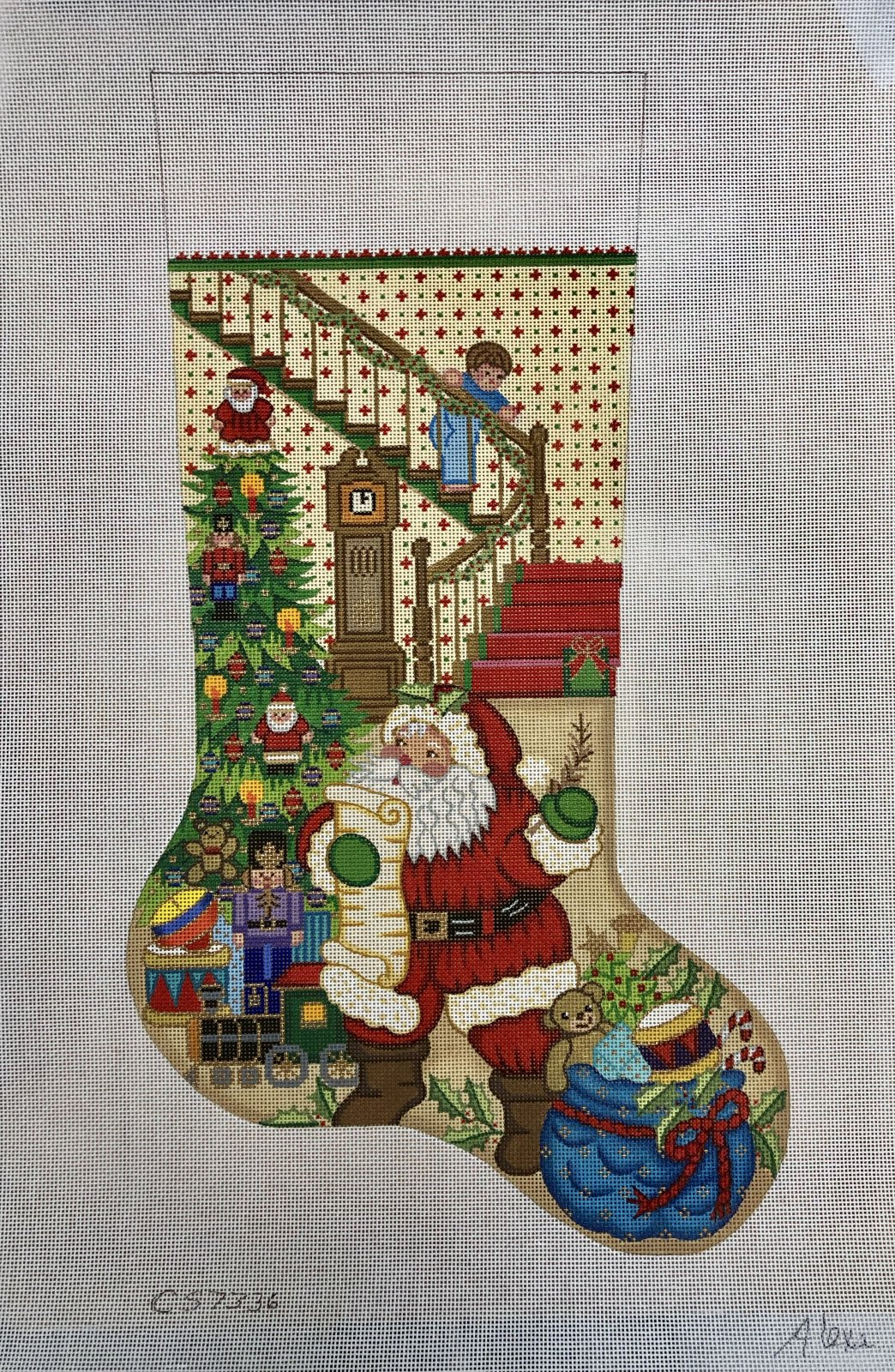 santa's list w boy on stairs