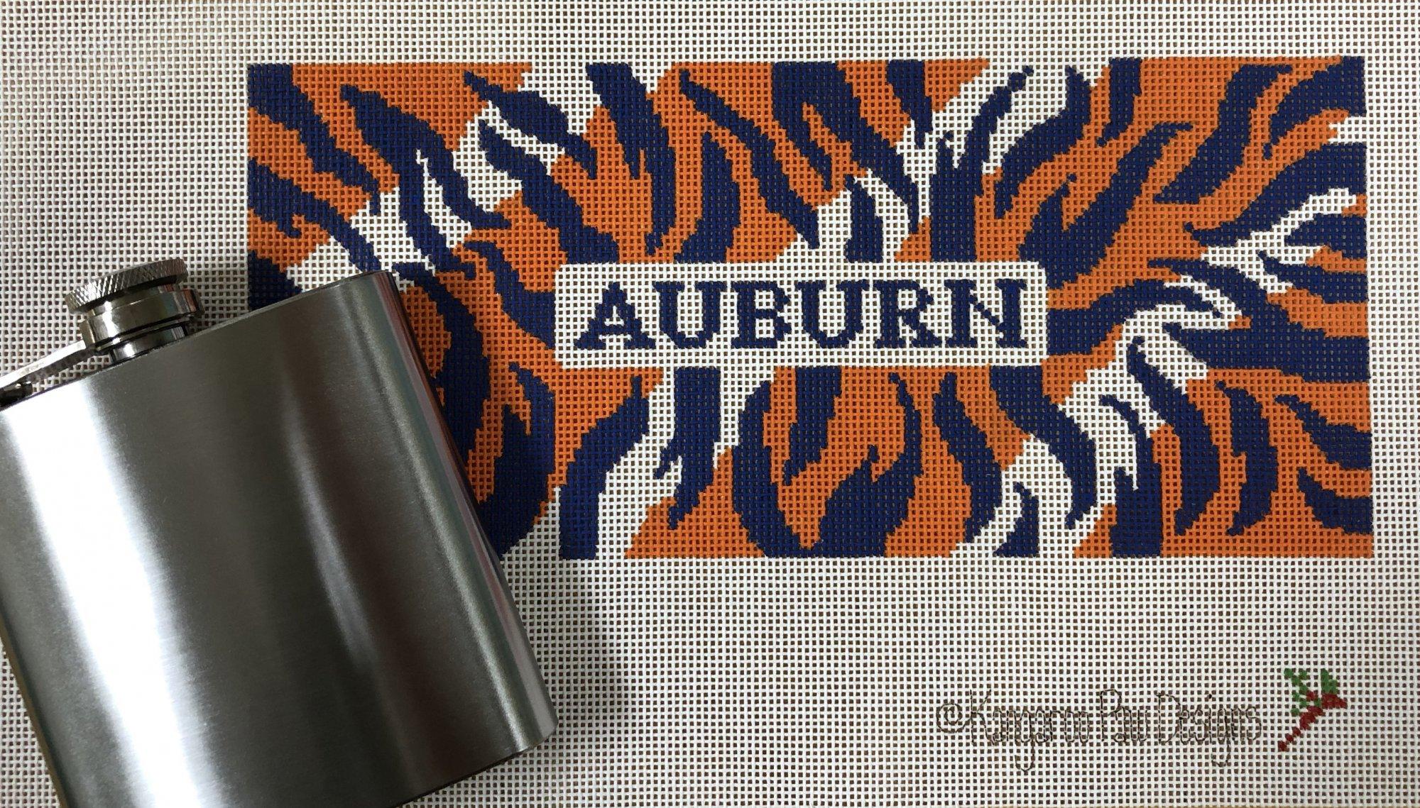 auburn tiger print & flask