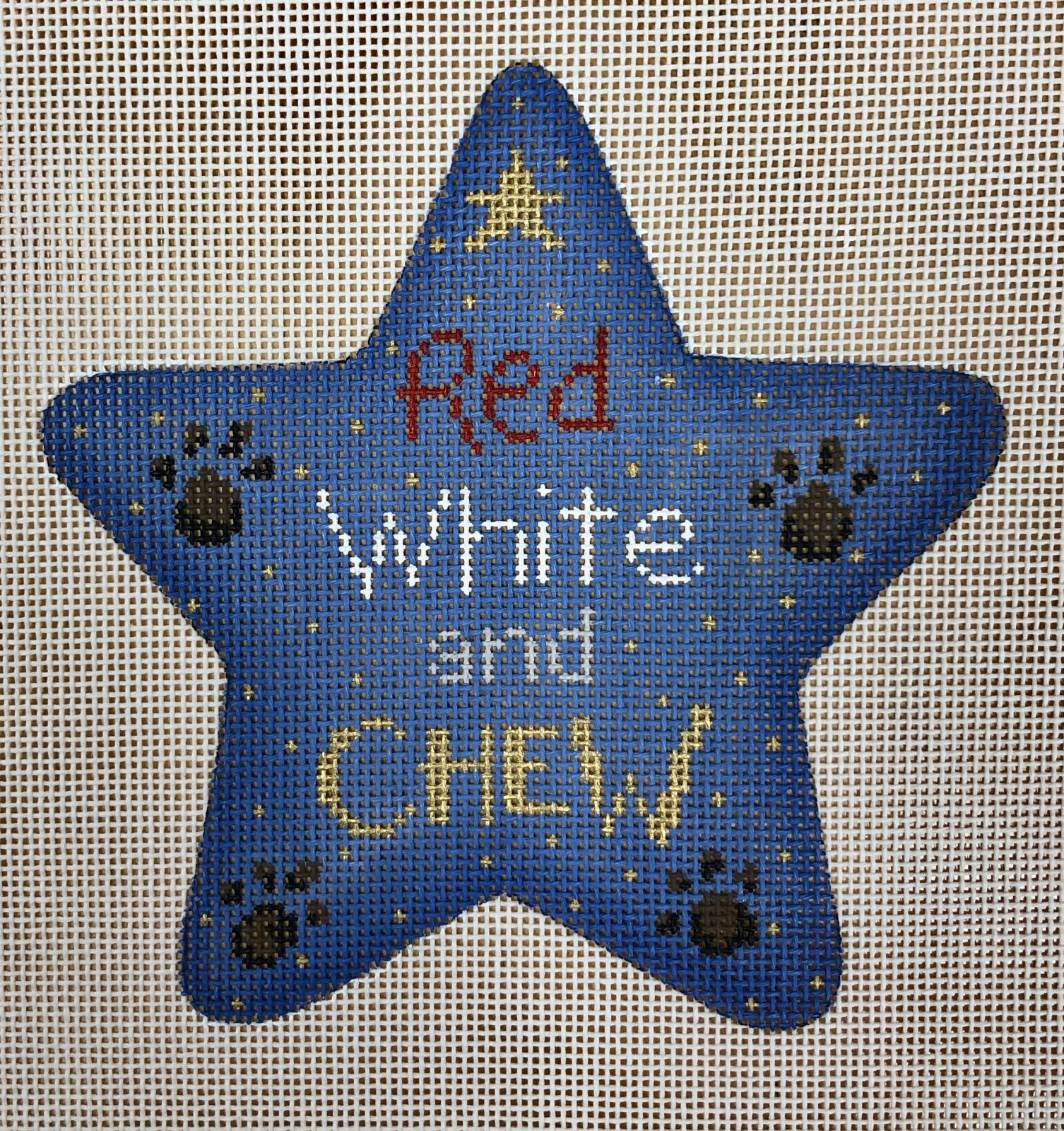 red, white, chew