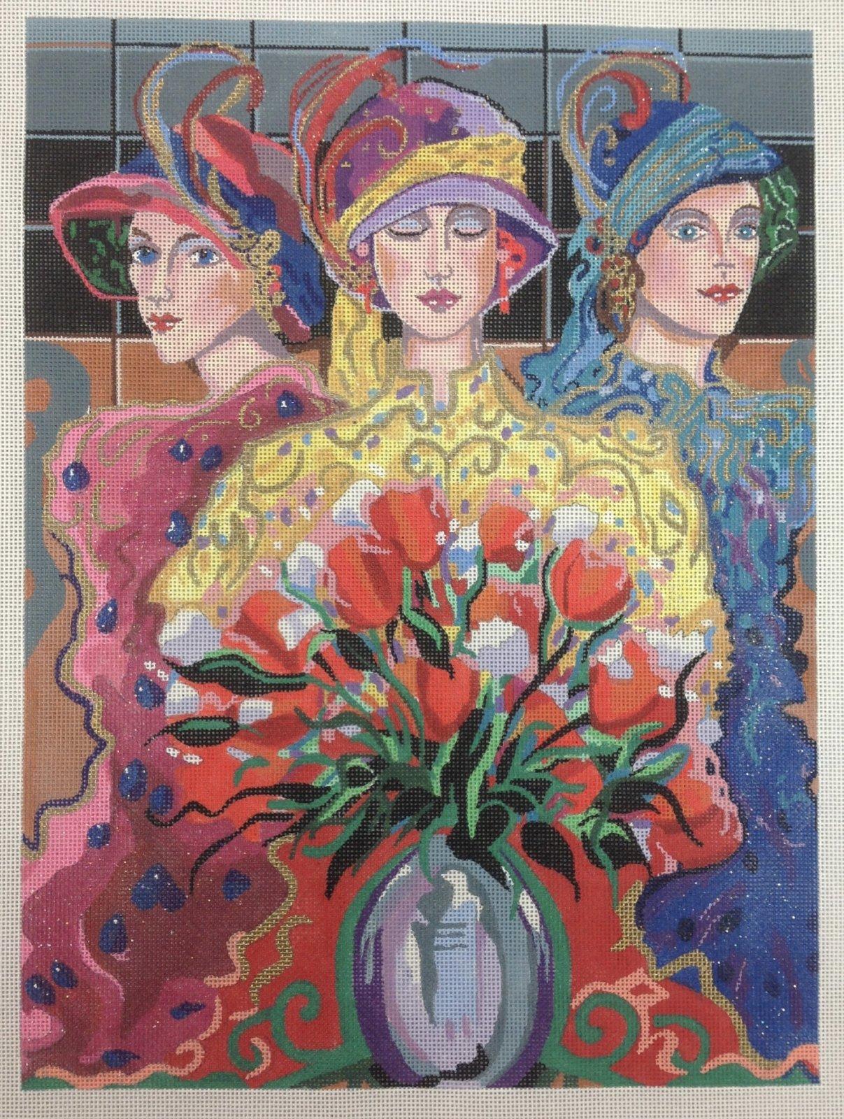 3 ladies & wild flowers