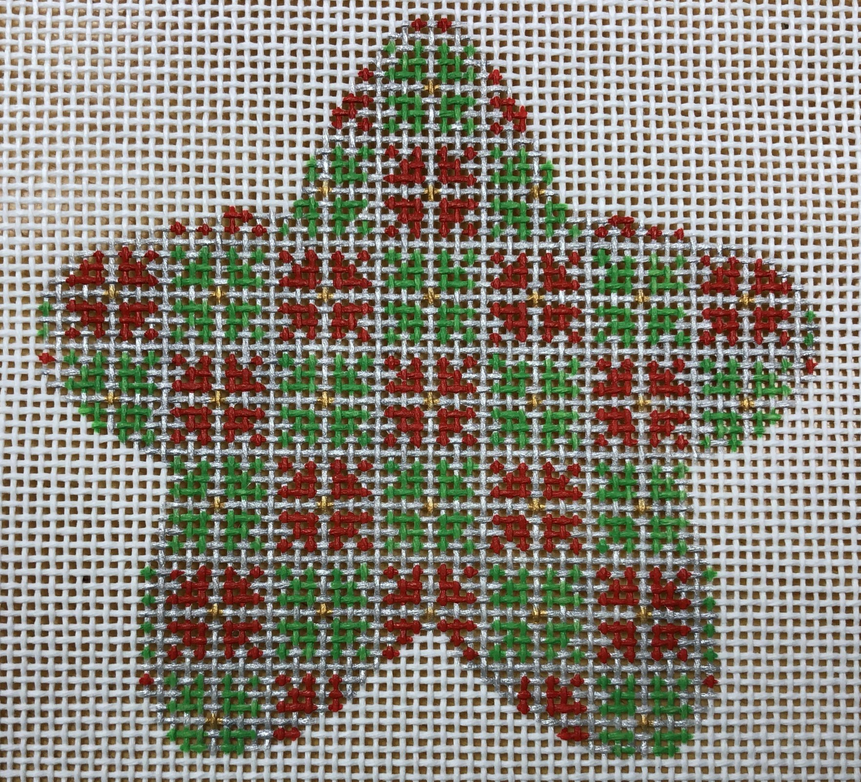 silver star w red & green