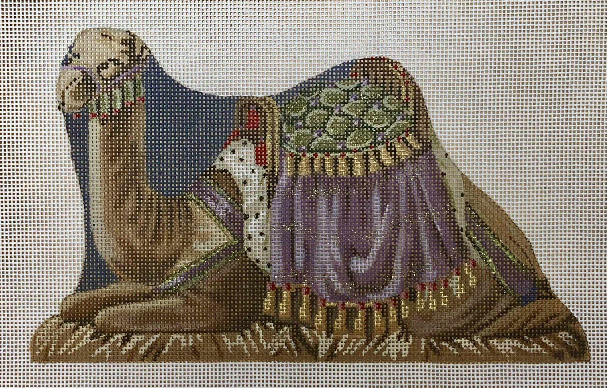 nativity doll, purple camel
