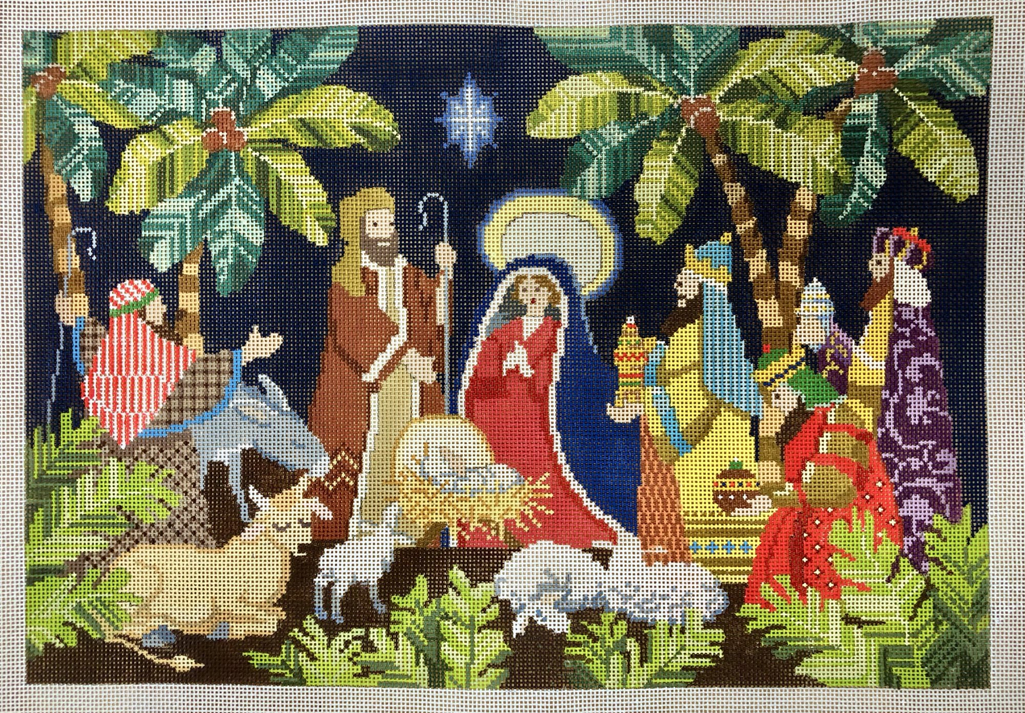 nativity w palm trees