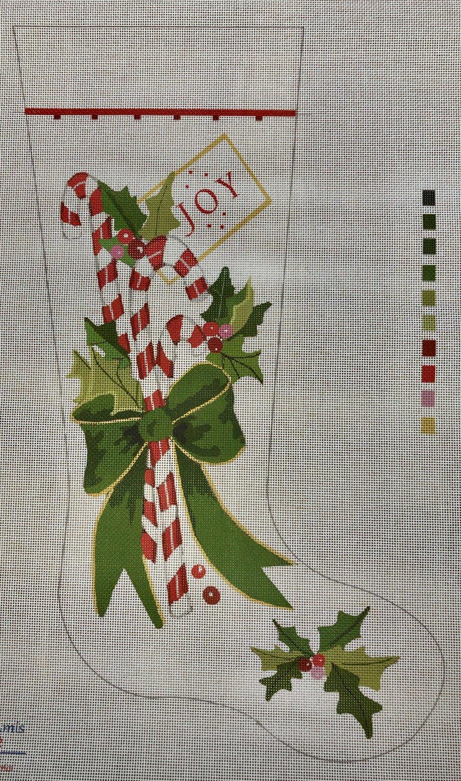 joy candy cane stocking