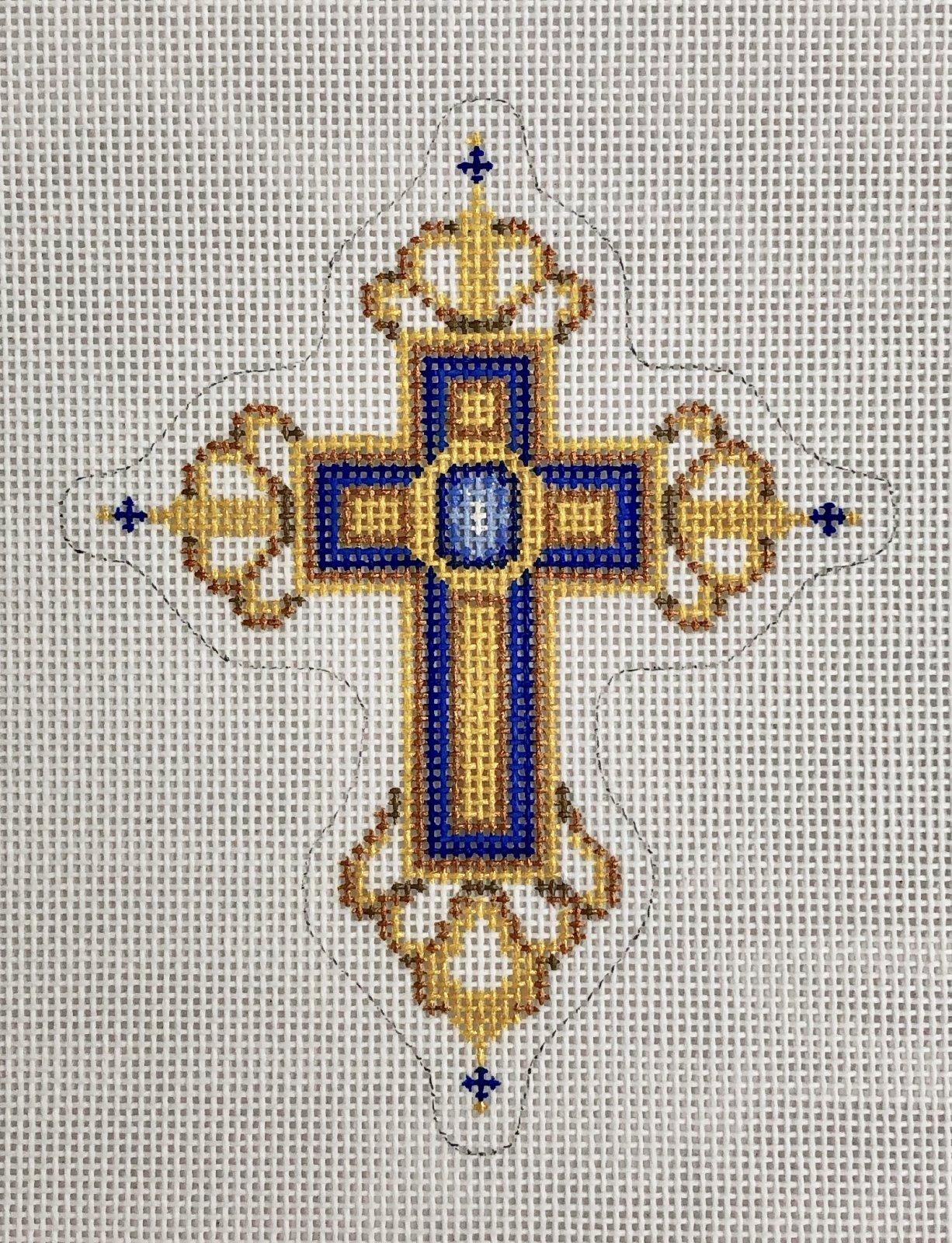 cross gold & blue w blue jewel ornament