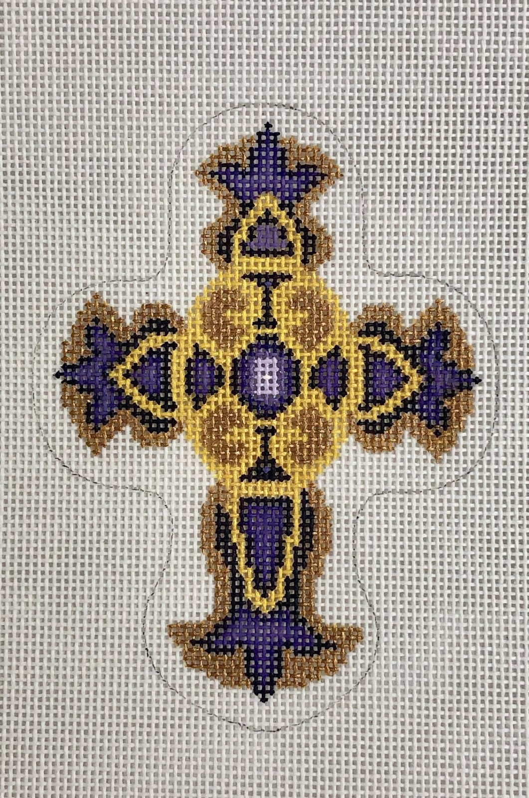 cross gold & purple jewels ornament