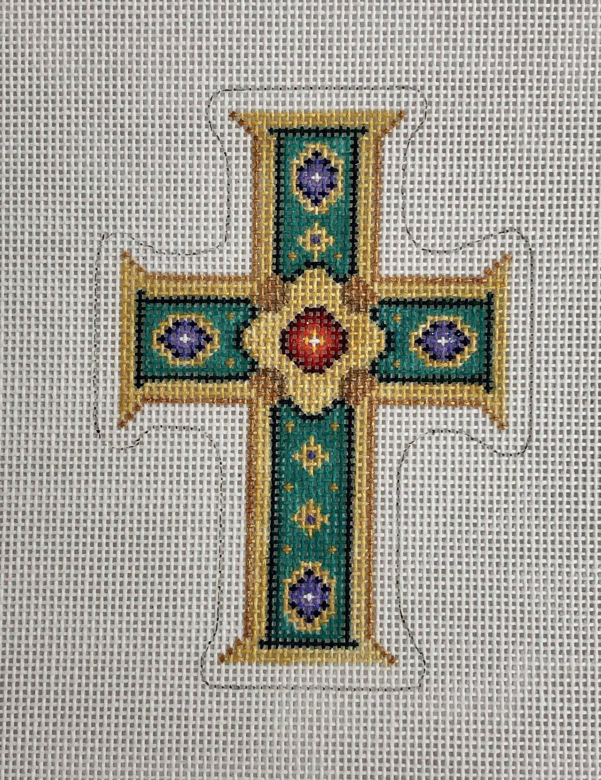 cross aqua & gold, purple, red jewels