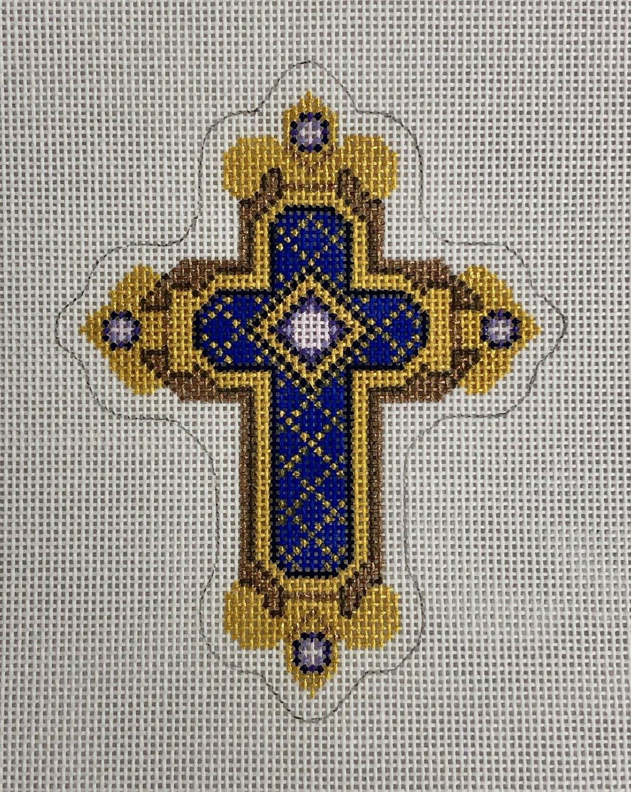 cross gold & blue w purple ornament