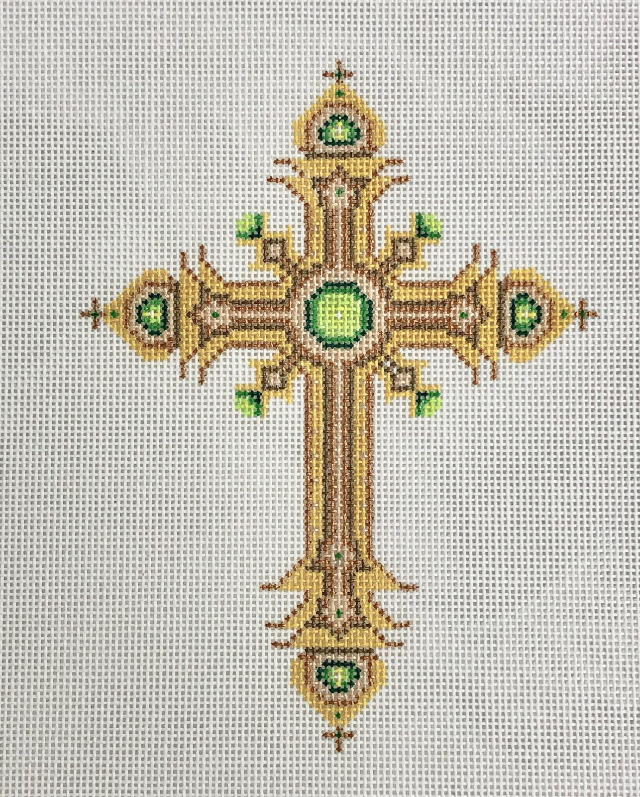 cross gold & bronze w green jewels, large