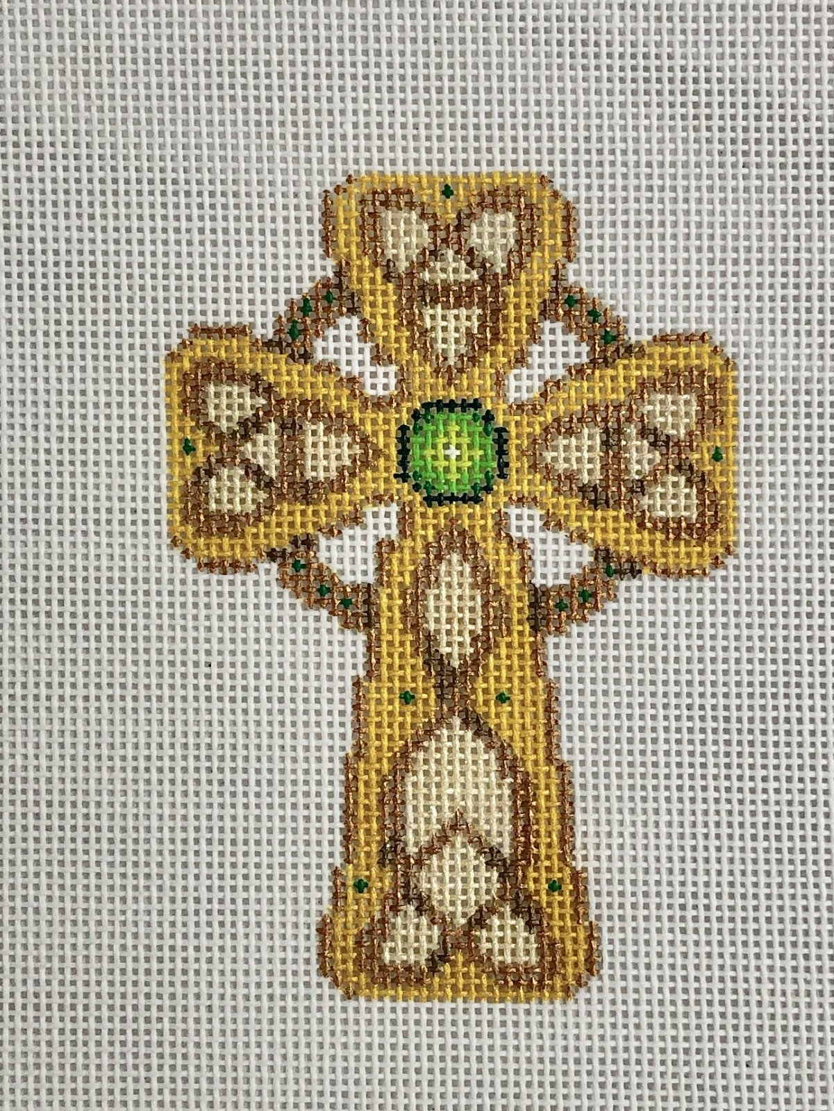 cross gold & copper w green jewels