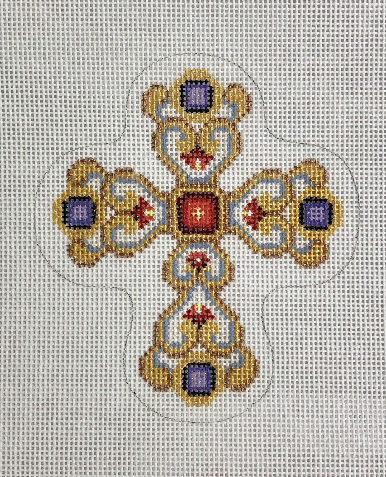 cross gold  & pearl w purple jewel ornament