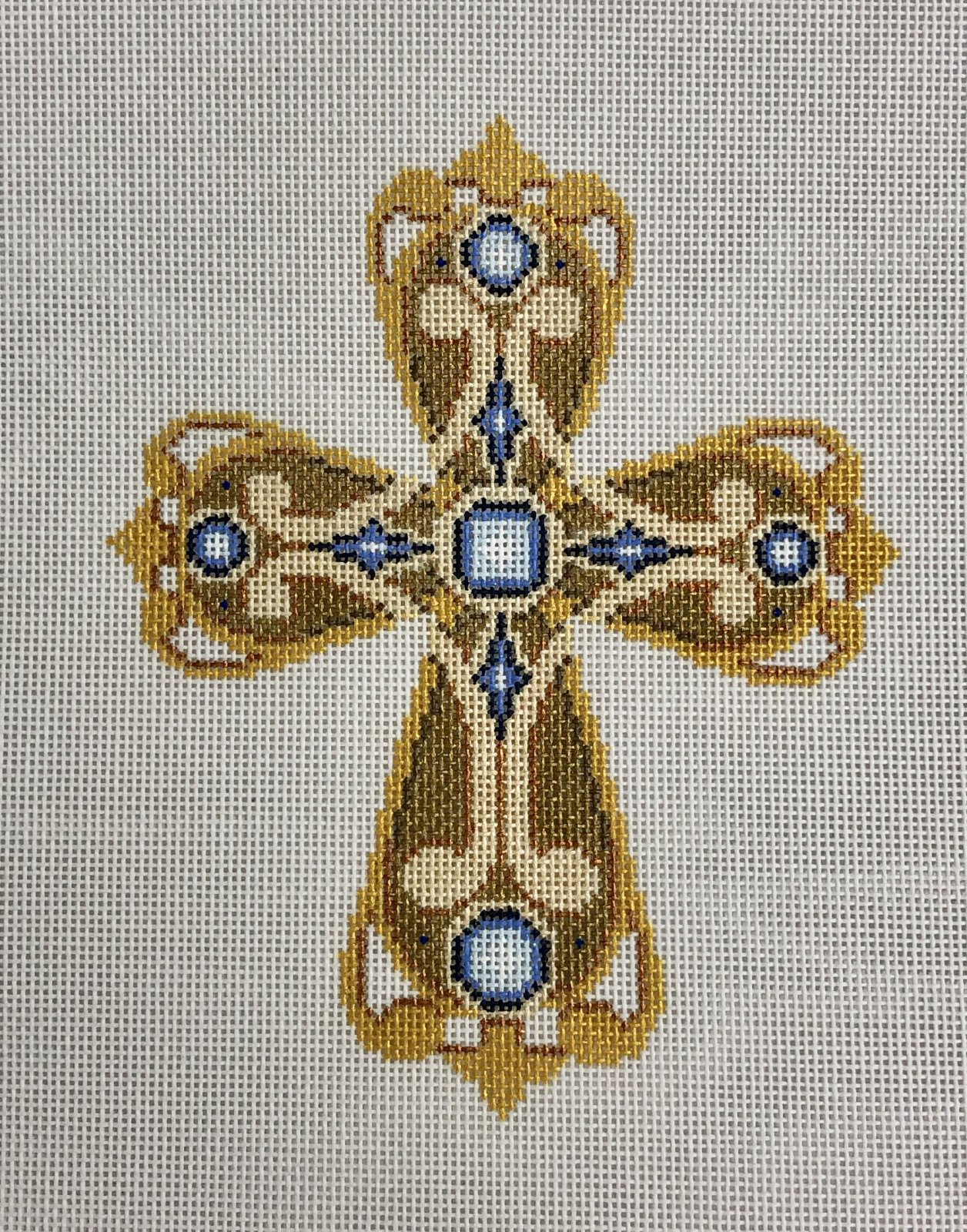 cross gold & copper w blue, large