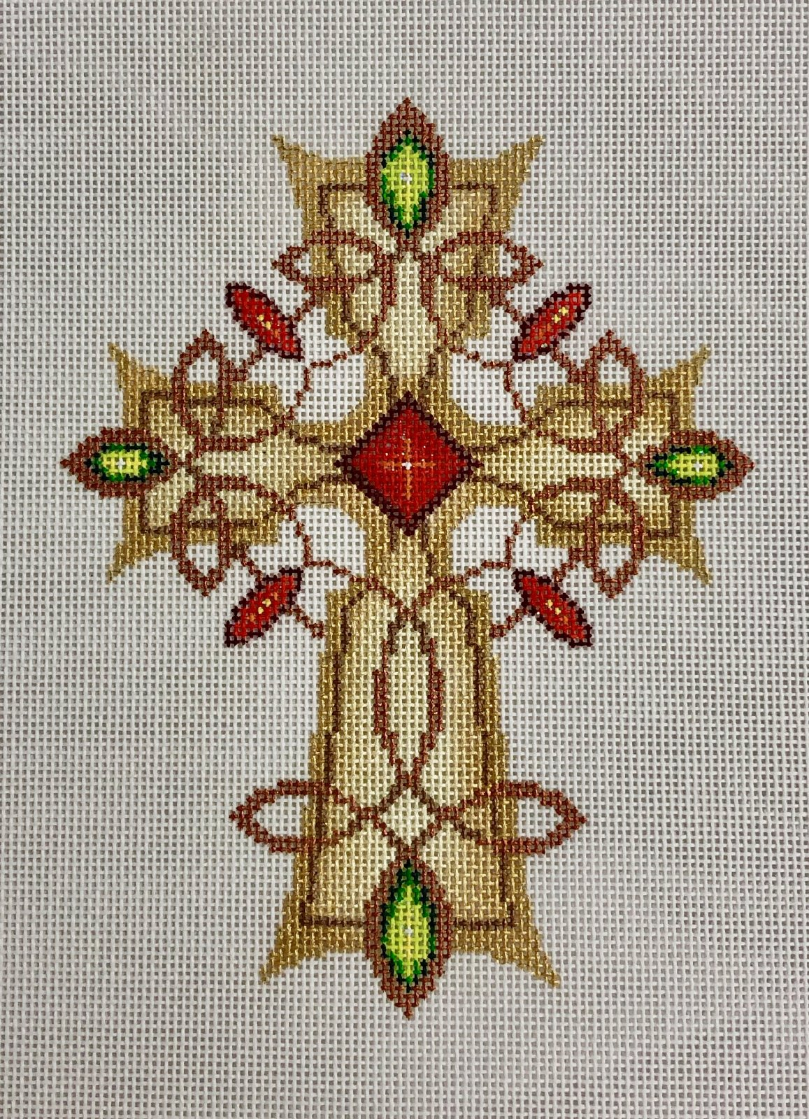 cross gold & copper w red, green