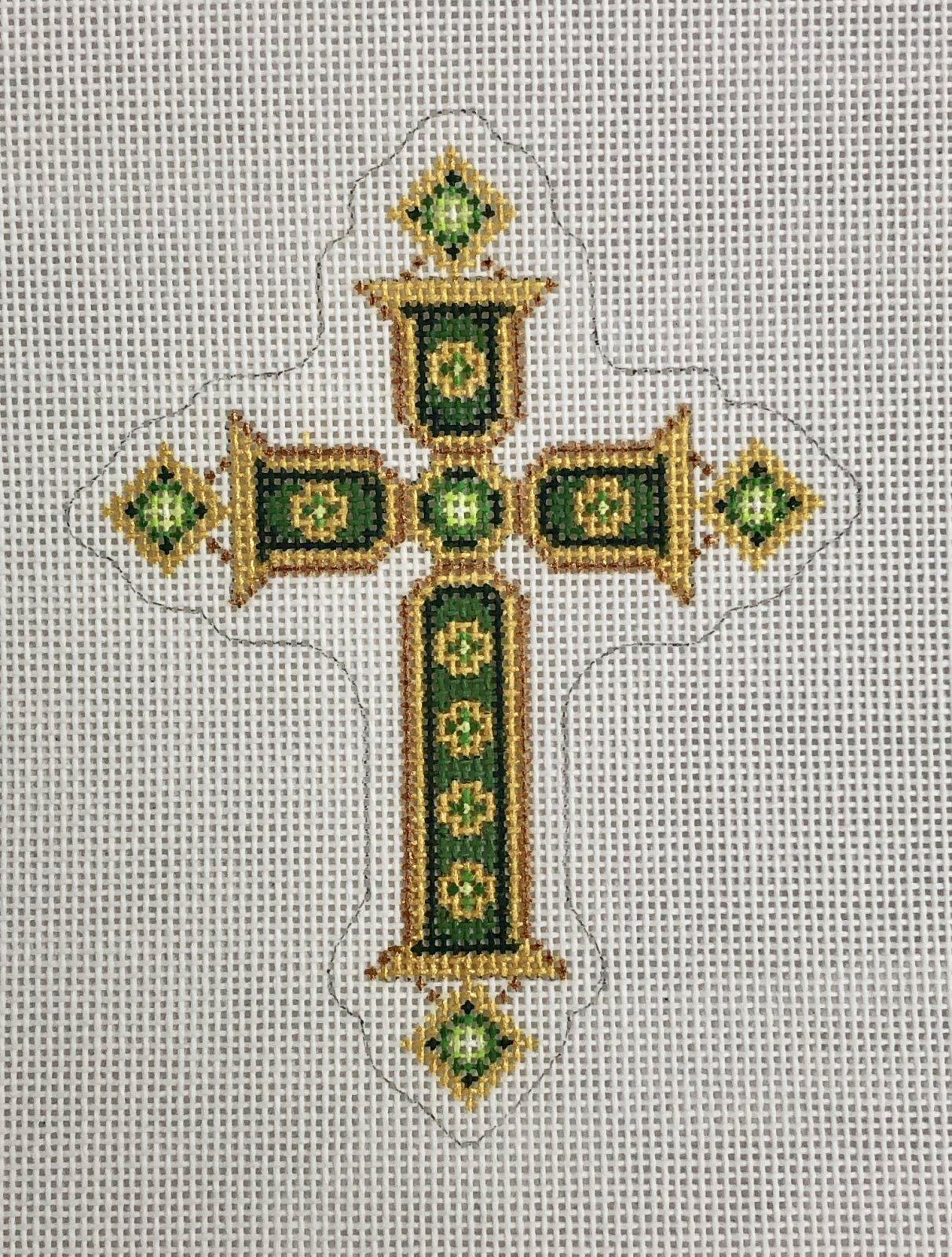 cross gold & green ornament
