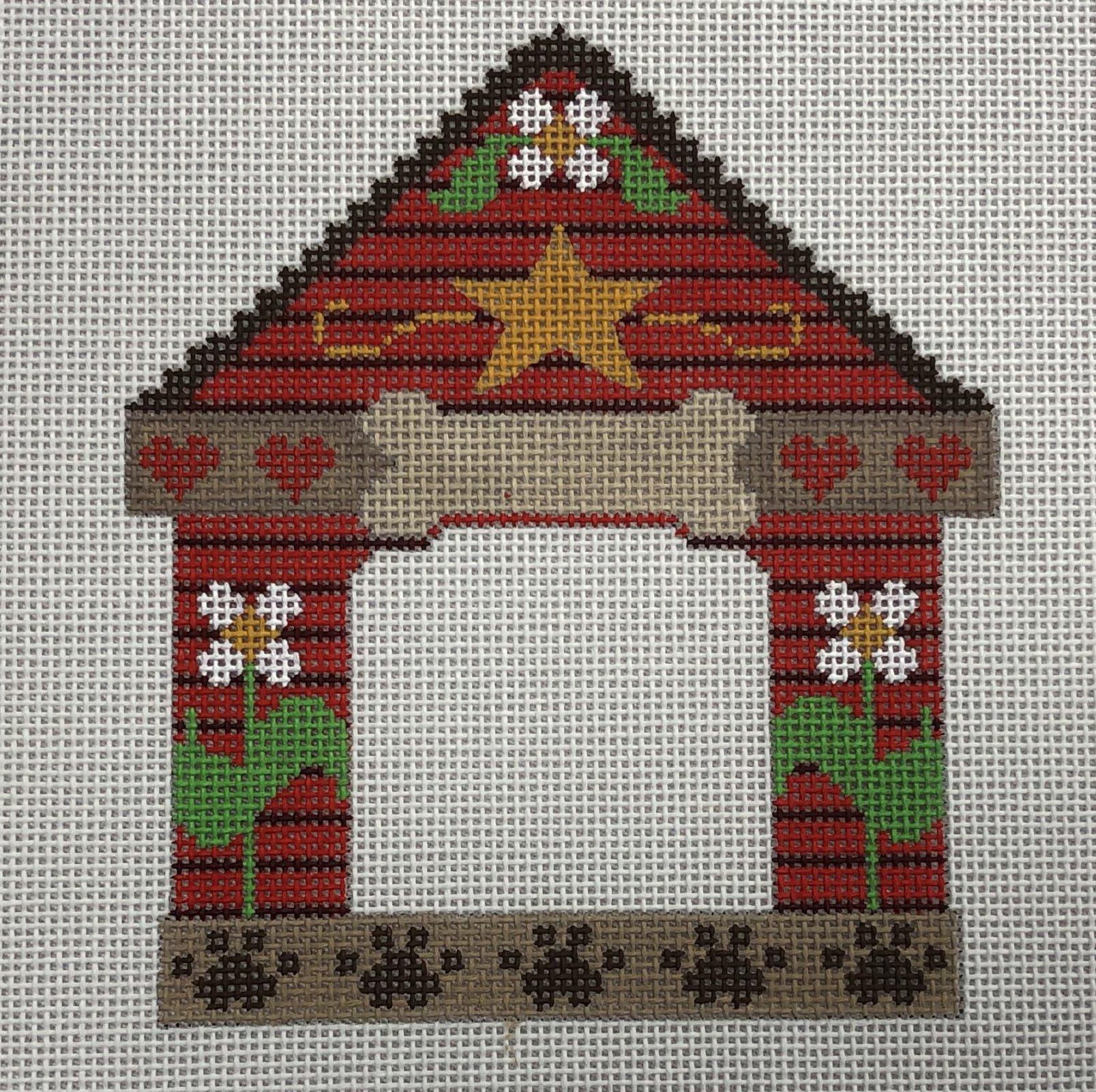 bone floral dog house frame