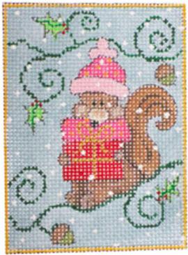 woodland santa, squirrel w stitch guide & threads*