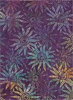 Batik Textiles 2352 Purple with multi color flowers