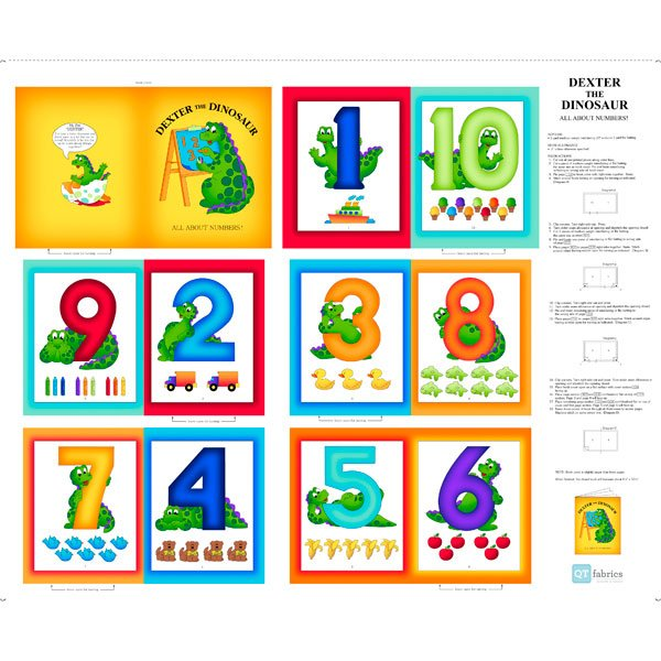 Dexter the Dinosaur All About Numbers 1 yd Panel - QT Fabrics
