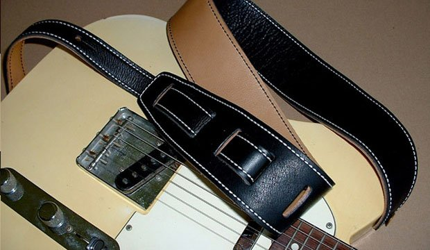 El Dorado Durango-Suave 2 1/2 Leather Guitar Strap - Black/Tan