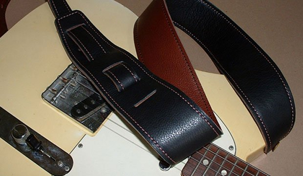 El Dorado Durango-Suave 2 1/2 Leather Guitar Strap - Black/Cognac