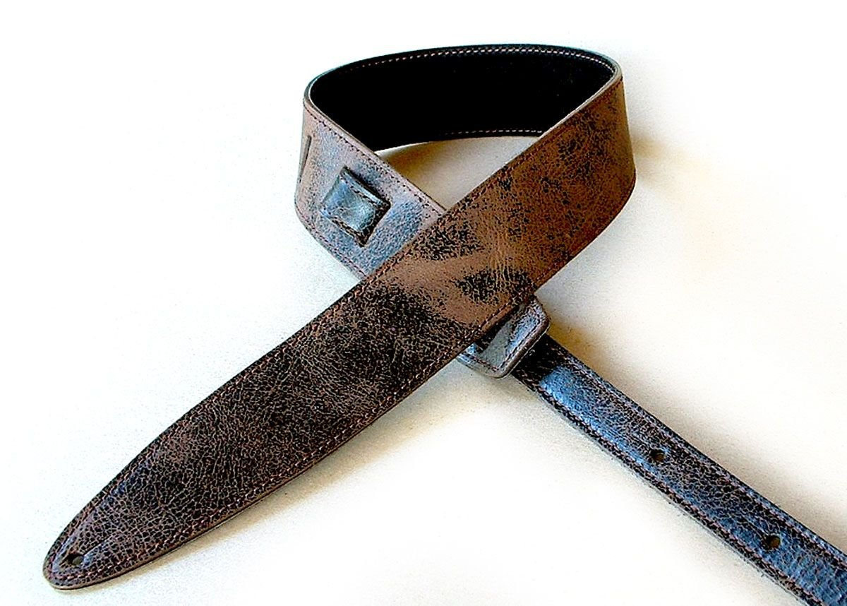 El Dorado Durango-Relic 2 1/2 Leather Guitar Strap - Distressed Dark Brown