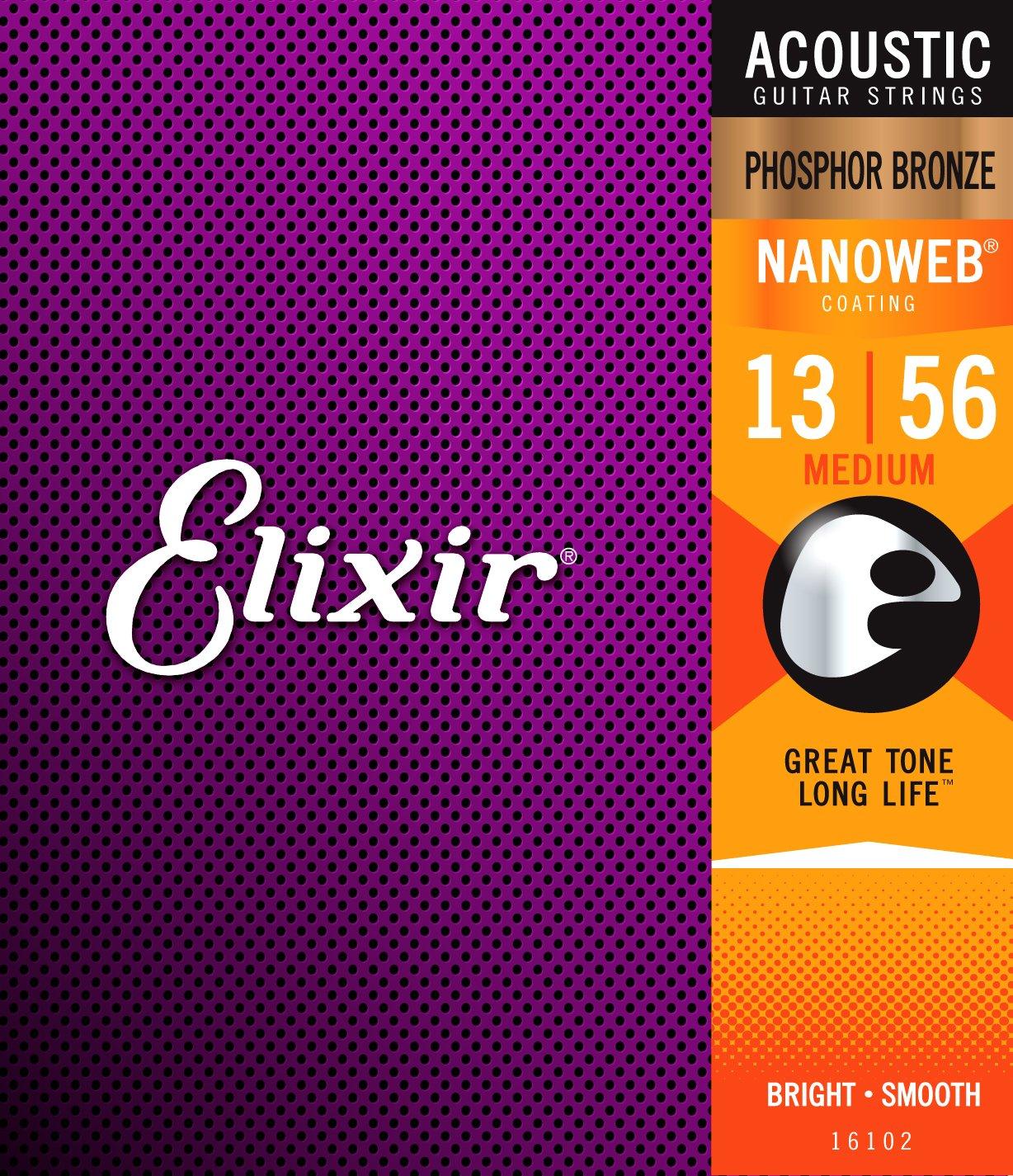 Elixir Strings Phosphor Bronze Acoustic Guitar Strings w NANOWEB Coating Medium (.013-.056)