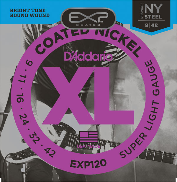 D'Addario EXP120 Coated Electric Guitar Strings Super Light 9-42