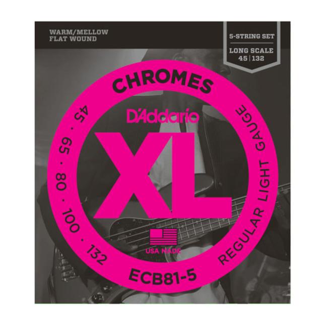 D'Addario Chromes ECB81-5 5-String Bass Guitar Strings Light 45-132 Long Scale