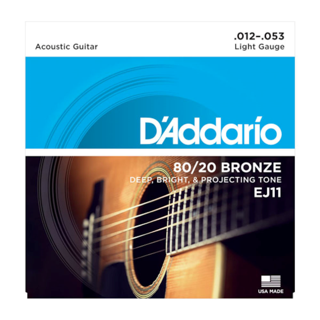D'Addario EJ11 80/20 Bronze Acoustic Guitar Strings Light 12-53
