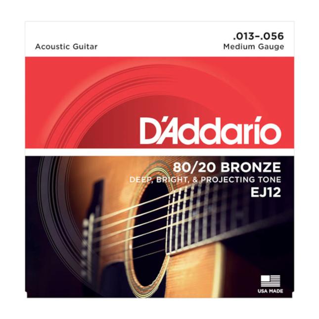 D'Addario EJ12 80/20 Bronze Acoustic Guitar Strings Medium 13-56